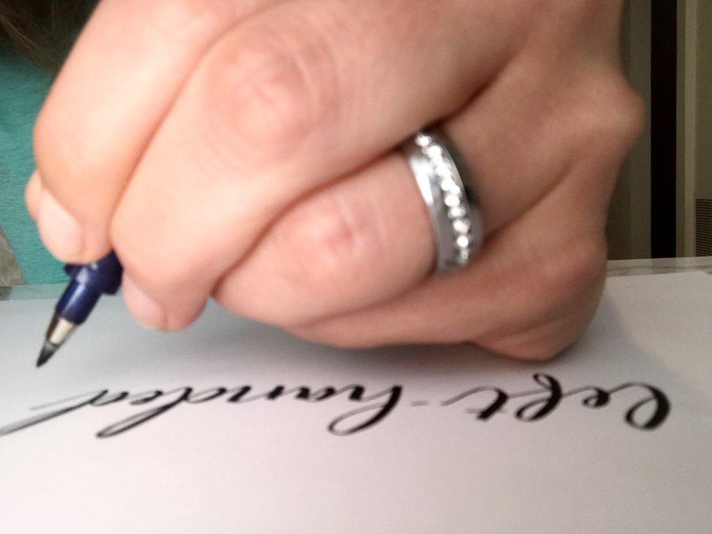 left handed brush lettering